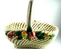 "Vintage Woven Ceramic Basket Oval, Fruit Embellishments Made in Italy 8""x7.5"""