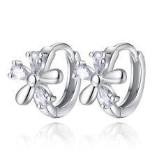 Real 925 Sterling Silver Women Zircon Flower Ear Buckle Earrings Hoop Huggie