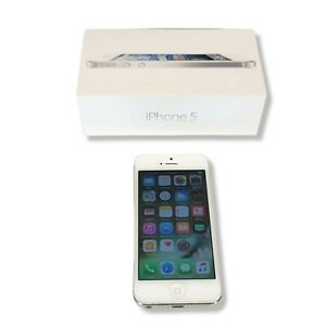 Apple iPhone 5 A1428 16 GB iOS 10 White/Silver Locked to AT&T Smartphone B6