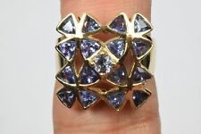 Women's Natural Tanzanite 4.25 ct 10k Yellow Gold Cluster Ring Trillion Purple