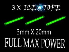 ICEATOPE 3 X ICE GREEN Isotopes Isotope Betalights 3mmX20mm FULL MAX POWER carp