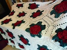 Vintage Hand Made Crochet Afghan Throw 3D Red Rose   Blanket 86x60