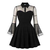 Women's Vintage Gothic Sheer Long Sleeve Dress Black Size S M L XL 2XL 3XL 4XL