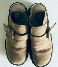 Caterpillar Inc. Cat Women Clog Shoes Size W Slip On Brown Suede Buckle Detail