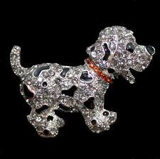 Brosche Dalmatiner Puppy Baby Hund, silberfarben, graue Kristalle, Emaille