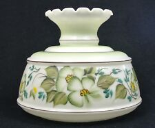 """Quoizel 10"""" Fitter  Student Oil Lamp XL Hurricane Shade Green Brown Dogwood GWTW"""