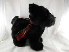 "Russ Berrie SHADOW Black Plush Scottish Terrier Scottie Dog 12"" with plaid scarf"
