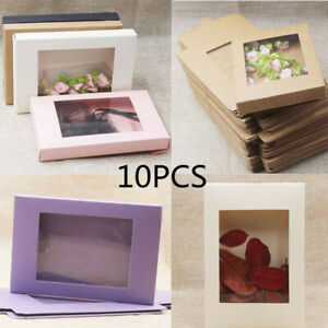 10Pcs DIY Color Kraft Paper Candy Gift Box Cake Package with Clear PVC Window