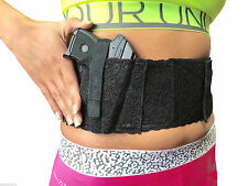 Black Lace Women's Ladies Elastic Belly Band Gun Holster USA Any Size Washable