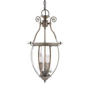 Searchlight 3 Light Bowed Glass Brass Ceiling Fitting Lantern Pendant Chandelier
