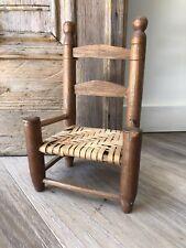 Vintage Doll Chair Splint Seat Ladder Back Walnut Wood Dated 1939 Signed Artist