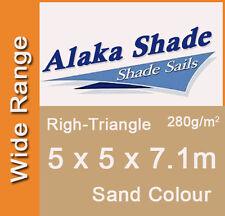 Extra Heavy Duty Shade Sail - Sand Right Angle Triangle 5m x 5m x 7.1m, 5x5x7.1m