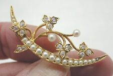 Fabulous Victorian 18ct Gold Pearl & Diamond Brooch