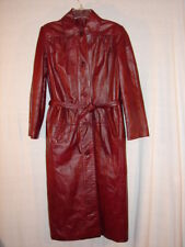 Vintage Women  Etienne Aigner Burgundy Leather Long Spy Trench Coat ~ Timeless