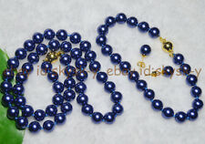 8mm Dark Blue AAA South Sea Shell Pearl Round Bead Necklace Bracelet Earring Set