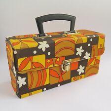Vintage CASSETTE TAPE CARRY CASE HOLDER | Holds 12 Top Handle Retro Floral Brown