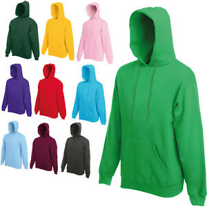 FRUIT OF THE LOOM HOODED TOP HOODIE - 20 COLOURS - BRAND NEW SS14