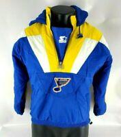 Vintage Starter NHL St. Louis Blues Hockey Hooded Jacket Adult Size Medium (M)