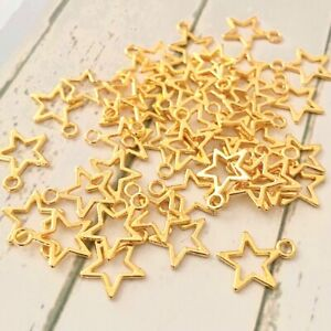 20 Gold Open Star Charms Shiny Tibetan Charm for Jewellery Making Beads