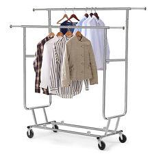 Garment Rack Shelf Adjustable Durable Rolling Rail Clothes Hanger