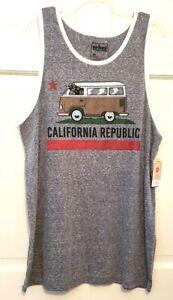Mens Tank T-shirt Urban Pipeline Gray California Republic Scoop Neckline NWT L M