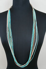 """NEW Chan Luu Turquoise Gold White Seed Bead 39"""" Long Short Multi Strand Necklace"""