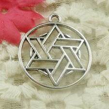 Free Ship 26 pieces Antique silver round star charms pendant 33x29mm H-4821