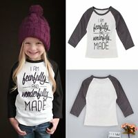 Toddler Kids Baby Boys Girls Cotton Clothes Long Sleeve Tee T-shirt Tops 1-6Y