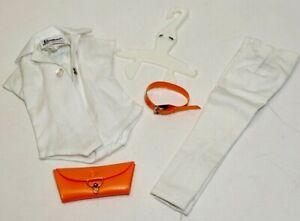 Vintage Barbie WHITE PAK BLOUSE w/Purse & WHITE PAK PANTS w/Belt ~ Mattel