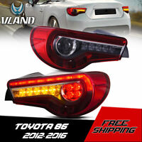 VLAND LED Red Tail Lights Rear Lamps For Toyota 86 Subaru BRZ Scion FR-S 13-20