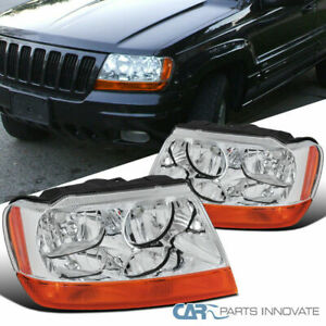 For 99-04 Jeep Grand Cherokee Clear Headlights Amber Turn Signal Lamps Headlamps