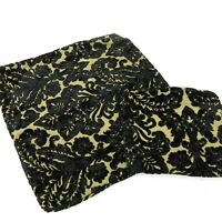 Vintage Custom Made Black Tan Chenille Damask Pair Pillow Covers Cases