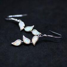 White Opal Leaf Earrings Sterling Silver 925 , October Birthstone  Tear Drop