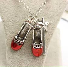 NEW Silver Plated Ruby Slippers With Wand Wizard Of Oz Necklace - Great Gift