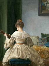 Oil painting Frederick Simpson Coburn female portrait Beautiful young woman play