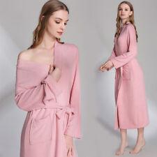 UK Winter Women's Soft Warm Knit Sleepwear Modal Cotton Wrap Bath Robe, Long