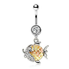 316L Stainless Steel Jeweled Gold Fish Dangle WildKlass Navel Ring (Gold)