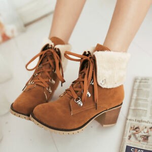 Women's Combat Boots Lace Up Suede Plush Chunky Heel Winter Ankle Booties Shoes