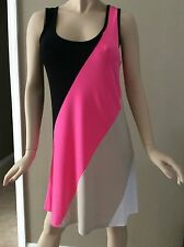 Calvin Klein Black, Neon Pink, Beige,White Colorblock Tank Shift Dress Size 8
