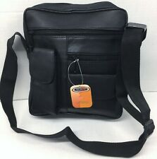 New men Genuine Leather Cross body Travel Bag Organizer Satchel Messenger Black