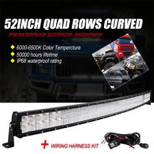 Curved 52 Inch 5152W QUAD ROW  LED Work Light Bar Flood Spot Offroad 4WD SUV UTE