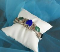 Vintage Taxco TM 247 Bracelet Cuff Stone Chunky Mex Solid 925 Sterling Silver 6