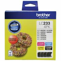 Brother LC 233 4PK Ink Cartridges 4 Colour Value Pack (GENUINE)