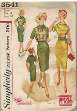 3541 Vintage Simplicity Sewing Pattern Misses Dress Top Sash 1960s 12 Simple OOP