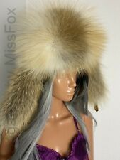 Golden island fox fur ushanka. Genuine suede top. Sheepskin lining