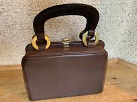 Handtasche mini bag braun Leder kleiner Arztkoffer 50er vintage Novabell