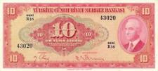 Turkey 10 Lira Currency Banknote 1947