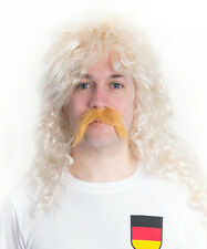 Rudi Voller Germany Football Fancy Dress Wig & Moustache perfect for Stag Party