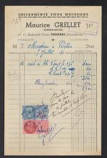 """THOUARS (79) INSTRUMENTS AGRICOLES en bois """"Maurice GRELLET"""" en 1950"""