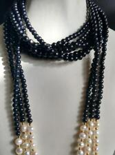 3 rows 6MM black jade white pearl necklace sweater chain 50 inches